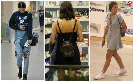 Bruna Marquezine hi-lo: moletom e tênis baratos com bolsas caras (Fotos: AgNews)