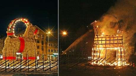 Escultura de cabra gigante é incendiada na Suécia