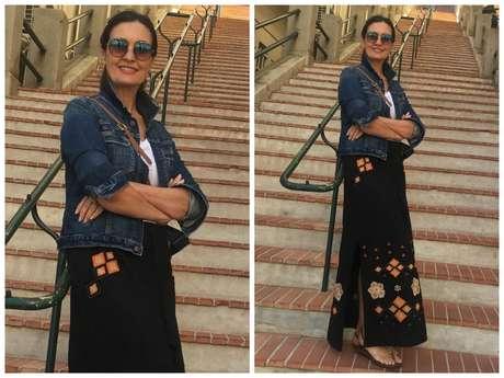 Fátima Bernardes: saia e jaqueta (Foto: Reprodução/Instagram)