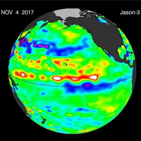 Imagem de satélite mostra que o fenômeno La Niña voltou; meteorologistas dizem que ele está mais fraco | Foto: Cortesia de William Patzert