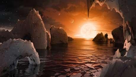 Pesquisadores da Nasa já imaginam a paisagem que podem ter os novos planetas descobertos em zonas habitáveis de uma estrela | Ilustração: NASA/JPL-Caltech