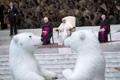Papa francisco durante audiência geral no Vaticano