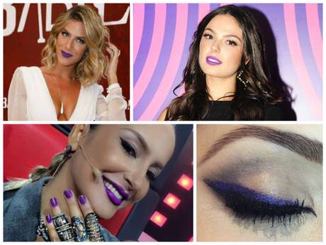 Ultra violet na maquiagem e nas unhas (Fotos: AgNews - Instagram/Reprodução - Estevam Avellar/TV Globo/Divulgação)