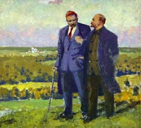 Lenin e Gorki, o líder e o escritor (tela de I. A.Wladimirov)