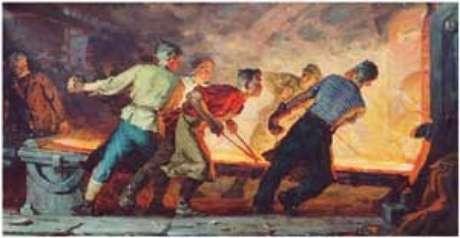 Jovens metalúrgicos (tela de I.Bevzenko)