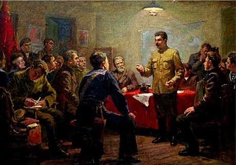 Stalin num colóquio com soldados, marinheiros e trabalhadores (tela de K.D.Trokhimenko)