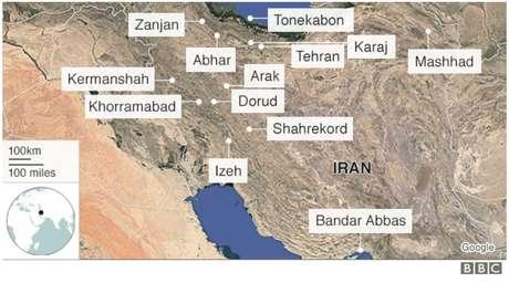 Localização das cidades onde ocorreram os principais protestos até o momento | imagem: BBC
