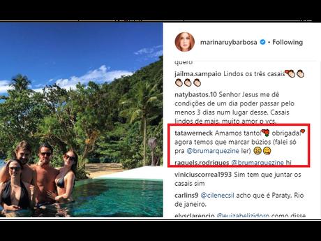 Marina Ruy Barbosa pede foto com Bruna e Neymar após posar com Tatá Werneck nesta terça-feira, dia 02 de janeiro de 2018