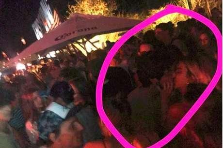 Manu Gavassi e Rodrigo Simas foram clicados aos beijos em uma festa no arquipélago pernambucano