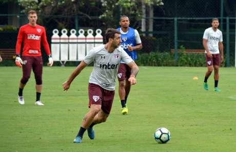 Pratto pediu para sair e treinou entre os reservas na manhã desta sexta-feira (Rubens Chiri/saopaulofc.net)
