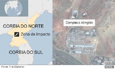 Mapa mostra local do impacto e imagem de satélite