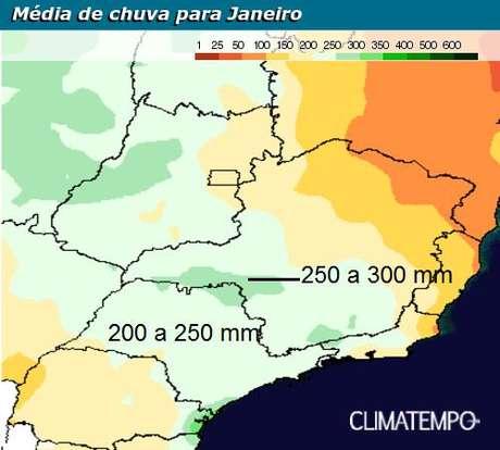 Climatologia de chuva para janeiro na Região Sudeste