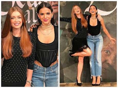 """Marina Ruy Barbosa e Bruna Marquezine no """"Fantástico"""" (Fotos: @marinaruybarbosa/Instagram/Reprodução)"""