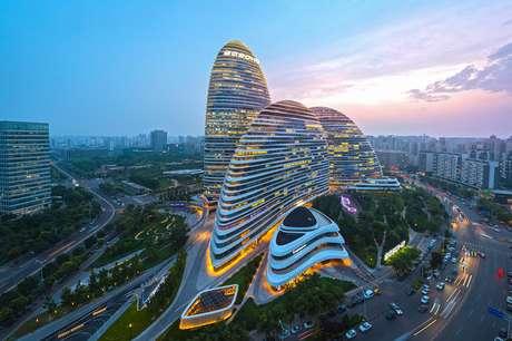 Imagem do fim de tarde em Pequim