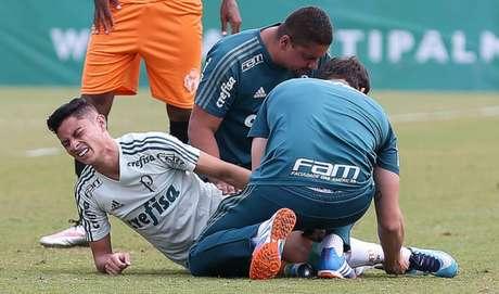 Diogo Barbosa se machucou no jogo-treino de sexta - FOTO: Cesar Greco/Palmeiras