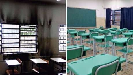 Antes e depois, uma sala de aula da Darcy Ribeiro: escola ganhou doações de materiais e foi revitalizada pela própria comunidade | Foto: arquivo pessoal