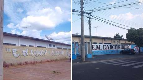 A fachada da escola, antes e depois: embelezamento fez parte da estratégia de recuperação | Foto: divulgação