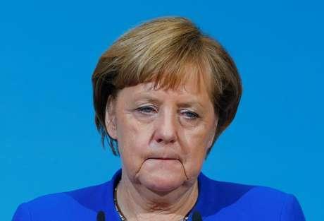 Chanceler alemã Angela Merkel na sede do partido SPD em Berlim, Alemanha 12/01/2018 REUTERS/Hannibal Hanschke