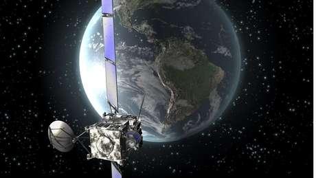 Impressão artística da sonda europeia Rosetta em órbita ao redor da Terra, em novembro de 2009 | Foto: ESA