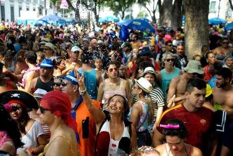 Bloco carnavalesco Cordão do Boitatá, que desfila no centro do Rio de Janeiro