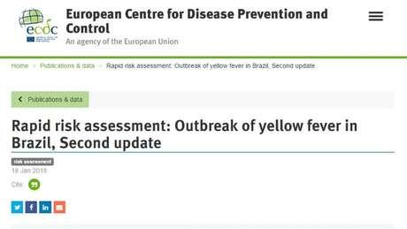 Alerta na página do Centro Europeu para Prevenção e Controle de Doenças