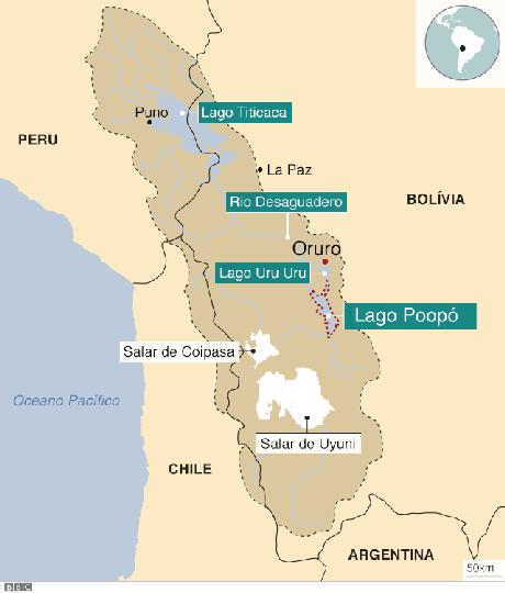 O sistema TDPS, formado pelo lago Titicaca, o rio Desaguadero, o lago Poopó e o salar de Coipasa