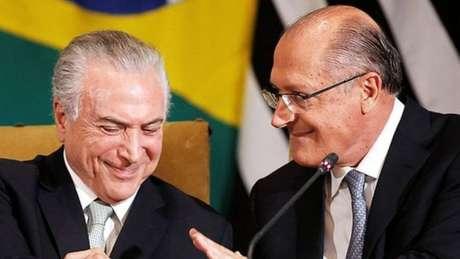 Michel Temer (esq.) e o governador de SP, Geraldo Alckmin