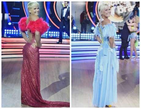"""Xuxa de vermelho e azul no """"Dancing Brasil"""" (Fotos: Reprodução/Instagram/@xuxameneghel)"""
