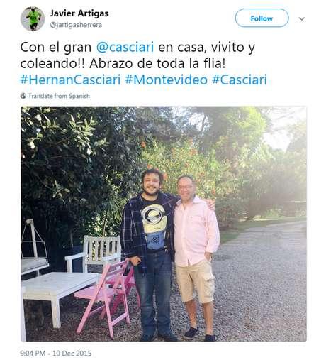 'Com o grande Casciari em casa, são e salvo! Abraços de toda a família', diz a legenda da foto postada por Artigas no Twitter | Foto: Twitter/Reprodução