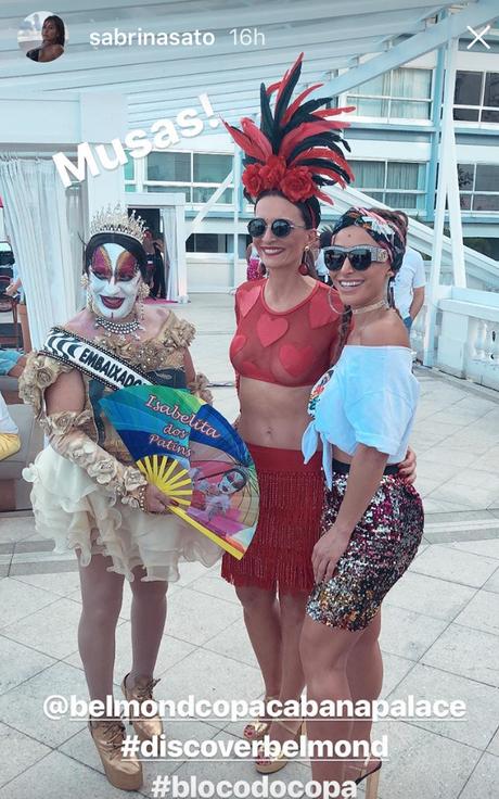 Isabelita dos Patins, Andrea Natal, diretora do Copa e Sabrina (Fotos: Reprodução/Instagram)
