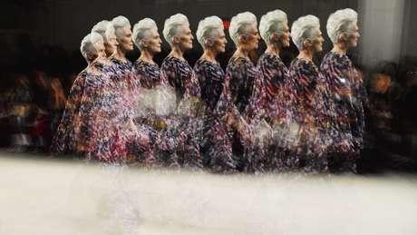 Maye Musk em desfile na semana de moda de Nova York