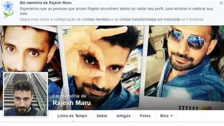 Perfil no Facebook em memória de Rajesh Maru: Homem de 32 anos chegou a ser socorrido, mas morreu minutos após o incidente | Foto: Reprodução/Facebook