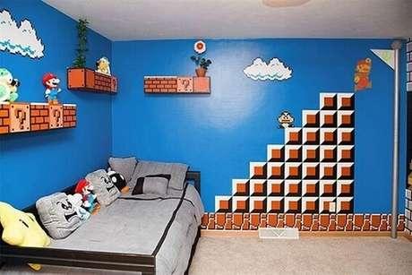 50. Realmente, a franquia do Mario inspira muitas decorações de quarto gamer