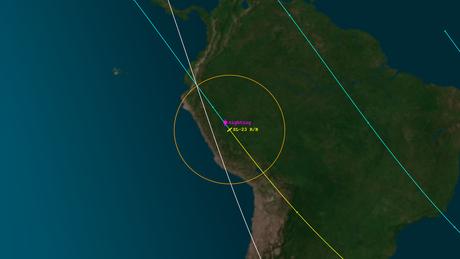 A Aerospace, organização sem fins lucrativos que monitora o espaço, indicou que um objeto foi avistado regressando na atmosfera em 27 de janeiro sobre Pucallpa | Imagem: Reprodução/Aerospace
