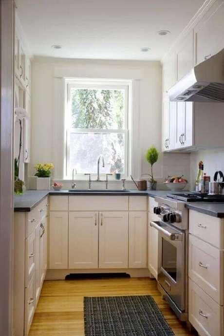 35. A iluminação é muito importante na decoração de cozinha pequena