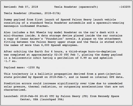 Registro oficial da NASA incluindo o Tesla Roadster como objeto celestial (Reprodução: NASA)