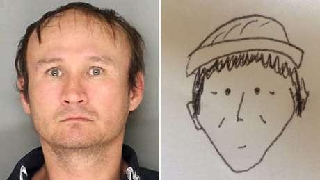 A própria testemunha desenhou o 'retrato falado' que foi classificado de 'amador e caricato', mas ajudou a polícia a encontrar um suspeito | Foto: Lancaster Police Department