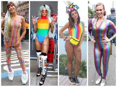 Arco-íris marca looks das famosas (Fotos: AgNews)
