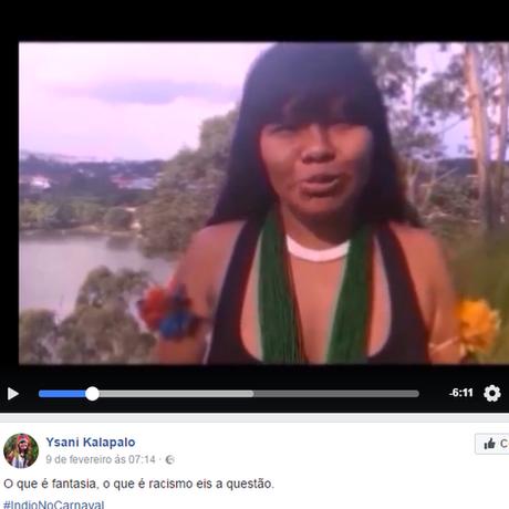 Vídeo de Ysani sobre cocar no carnaval viralisou no Facebook e foi reproduzido por sites feministas, atingindo mais de 1,5 milhão de visualizações | Fonte: Reprodução/Facebook
