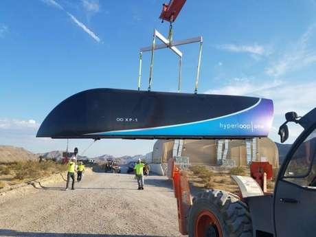 Unidade do Hyperloop One durante testes (Reprodução: Divulgação)