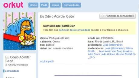 Uma das comunidades mais populares do Orkut era essa, para quem odiava acordar cedo (Imagem: Reprodução)
