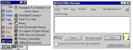 À esquerda, a janela do ICQ com seus contatos online e offline, além das opções de status. Ao lado, a janelinha para criar uma nova mensagem (Imagem: Reprodução)