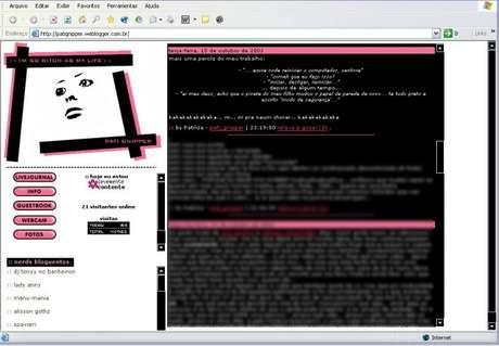 Print de como meu blog era em 2002, com link para o LiveJournal e indicação de blogs de amigos no menu lateral