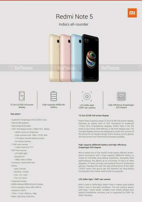 Redmi Note 5 tem as mesmas especificações do Redmi Note 5 Plus. Diferença fica por conta da tela FHD+ de 6 polegadas (Imagem: OnPhones)