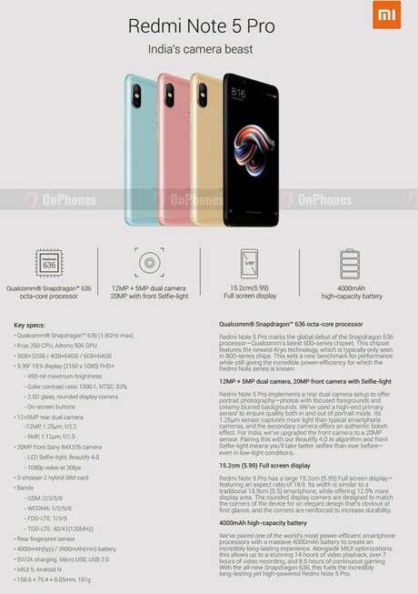 Redmi Note 5 Pro traz mudanças mais significativas à linha, com processador poderoso e mais opções de configuração para o usuário (Imagem: OnPhones)