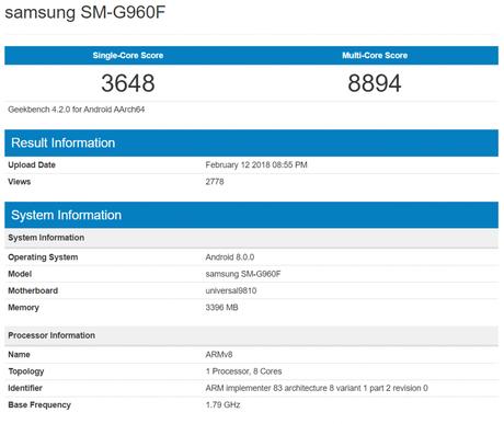 Teste de benchmark mostra todo o poder de fogo do Galaxy S9 equipado com SoC Exynos 9810 (Imagem: Geekbench)