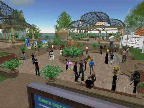 O universo paralelo do Second Life. Cada bonequinhoé o avatar de um usuário diferente, interagindo uns com os outros (Imagem: Reprodução)