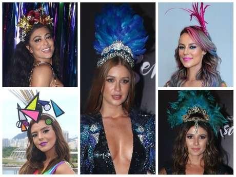 Enfeites de cabeça incrementam looks de Carnaval das famosas (Fotos: AgNews)