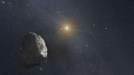 Concepção artística de um asteroide no cinturão de Kuiper, no limite do nosso Sistema Solar