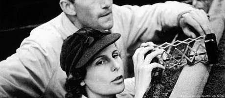 """Riefenstahl durante as filmagens de """"Olympia"""""""